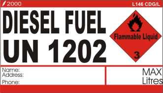 L146 CDG/L - Diesel Fuel Package Label Large - 2000 Test Equipment